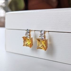 14K Gold Post Earrings With Yellow CZ